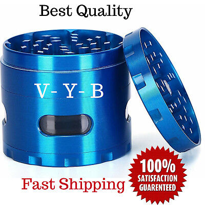 "Large Spice Tobacco Herb Weed Grinder-4 Pcs with Pollen Catcher 2.5"" Gift Blue N"