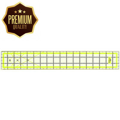 Quilting Ruler Acrylic Transparent - Imperial 3 x 18 Inch with 2 sides Metal...