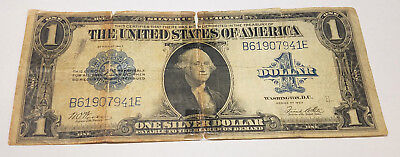 1923 $1 Silver Certificate Large Size Notes B61907941E Details: Damaged