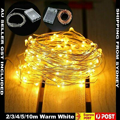 2/3/4/5/10m LED Fairy Light Wire Warm White Battery Operated String Lights Party