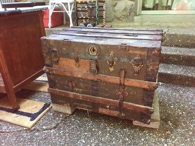 Antique Late 1880's conestoga steamer wagon trunk chest Metal banded rare