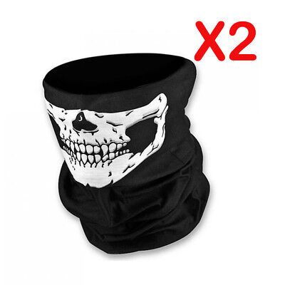 2X Skull Face Mask Seamless Mask Wind Protector Headwear Neck Tube Scarf Bike