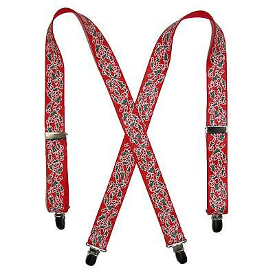 New CTM Kids' Elastic Clip-End 1 Inch Christmas Candy Cane Suspenders