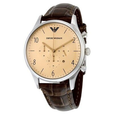 Emporio Armani Mens Gents Chronograph Watch Brown leather strap ar1878