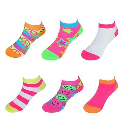 New Beverly Hills Polo Club Girl's Flat Low Cut Novelty Socks (6 Pair Pack)
