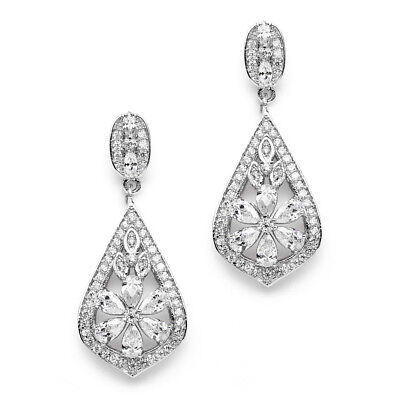 Mariell Designer CZ Wedding, Bridal or Prom Earrings with Pave CZ Frame