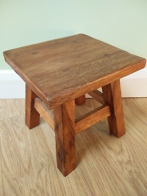 """Square Wooden Stool - Fair Trade - Hand Carved in Acacia Wood - 10"""" Square"""