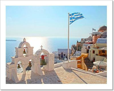 Greek Flag And Bell Tower In Oia Art Print Home Decor Wall Art Poster - G