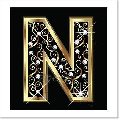N Gold Letter With Swirly Ornaments Art Print Home Decor Wall Art Poster - G