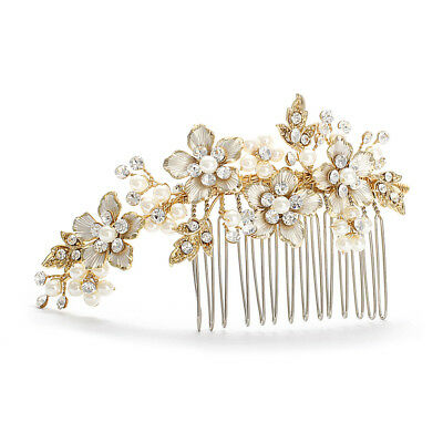 Mariell Brushed Gold & Ivory Pearl Wedding Comb, Jeweled Bridal Hair Accessory