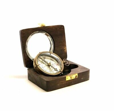 Military Brass Antique Dolland London Compass In Wooden Box ~ Nautical