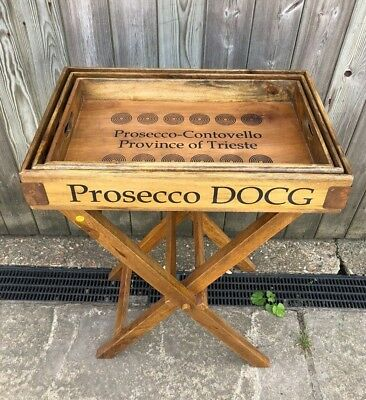 Prosecco DOSC Set Of 3 Wooden Trays On A Wooden Stand