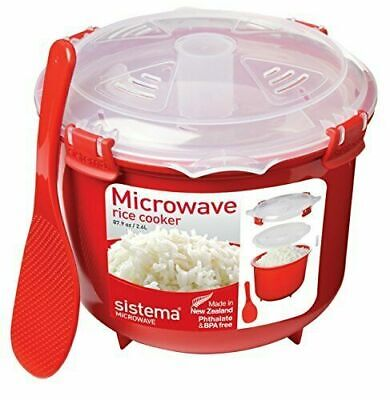 Sistema Microwave Rice Steamer - 2.6 L, Red/Clear BPA Free Cooker High Quality