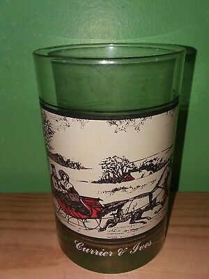 "Arby's Christmas Glass - Currier & Ives The Road In Winter - 4.75"" Tall - 1978"