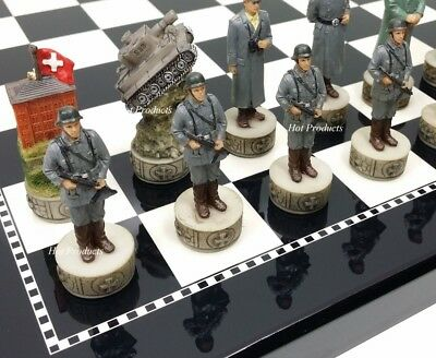 "** NEW ** World War 2 US GERMANY Chess Set W/ BLACK & WHITE GLOSS BOARD 15"" WW2"