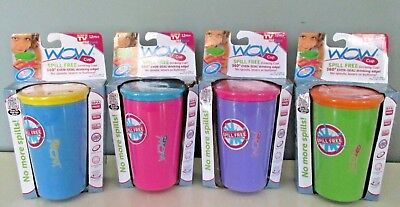 "New ""WOW"" Cup for Kids ~ SPILL FREE DRINKING CUP ~ 9 oz.  Choice of 4 Colors"