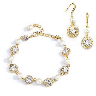 Mariell 14K Gold & Pearl Bridal Bracelet & Earrings Set, Jewelry for Bridesmaids
