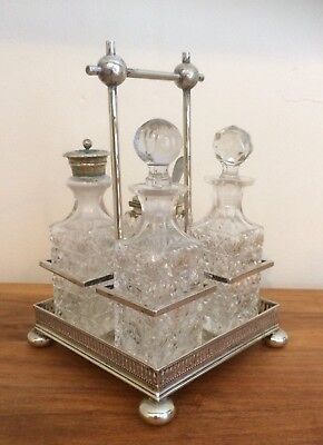 Ornate Daniel & Arter 4 Piece Silver Plate & Cut Glass EPNS Cruet Set With Stand