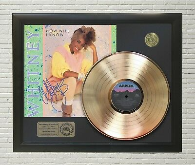 "Whitney Houston - How Will I Know Gold Lp Ltd Framed Signature Display ""m4"""