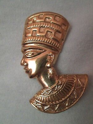 "Vintage Egyptian Nefertiti Bust Head Gold Tone Brooch Signed 2""  Ready to Wear"