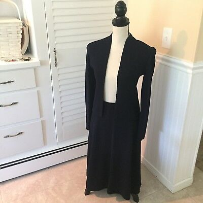 ST.JOHN by MARIE GRAY Women's Size S Vintage SKIRT SUIT 2 pc Blue SANTANA KNIT
