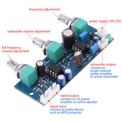 DC12-24V NE5532 Low-pass Filter Board Subwoofer 2.1CH/Pre-Amplifier Preamp Board