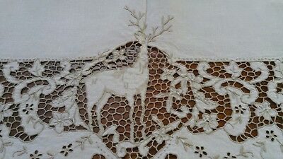"ANTIQUE STAG DESIGN ITALIAN LINEN TABLECLOTH ECRU CUTWORK EMBROIDERY 62"" x 100"""