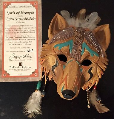 Ceremonial Wolf Mask by Hamilton Collection, Eagle Totem, Feathers, EC!!