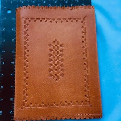 Leather Book Jacket Hand Tooled Tan  Leather  Bible Cover Embossed New Vintage