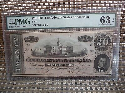 1864 T-67 $20  Pmg 63 Epq Choice Uncirculated Csa Confederate Note
