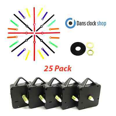 25 Pack New Extra Long Non Ticking Quartz Clock Movement Mechanism Coloured Hand