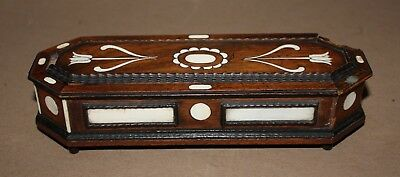 Antique vintage wood coffin shape box detailed ivory colored inlay velvet -AS IS