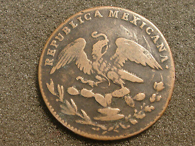1833 Mo A MEXICO 1/4 Real Copper Coin F