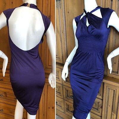 34d2182488c0 GUCCI 2004 BY Tom Ford Purple Backless Keyhole Dress Size XS ...