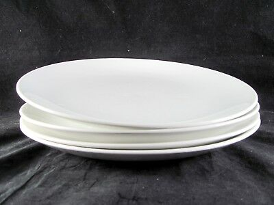 """4 Johnson Brothers Snowwhite Coupe Dinner Plates, 10"""", JB12, all white,"""