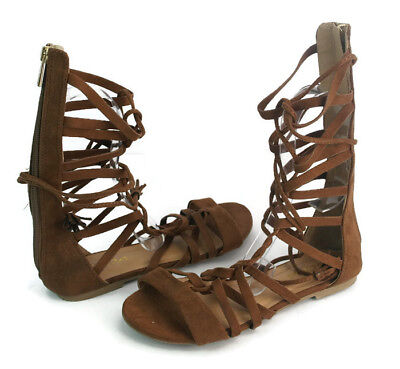 966d1c5ef9f Soda Women s Brown Suede Strappy Zip Lace Up Gladiator Sandals US Size 5.5