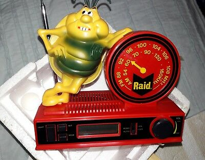 Vintage Rare Raid Bug Spray Digital Clock Radio NIB MINT