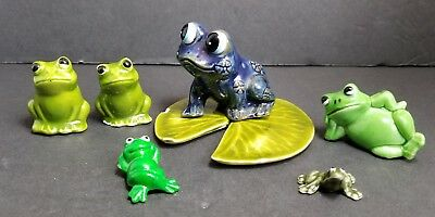 Vintage Lot Of 6 Miniature Ceramic Bone China Porcelain Plastic Frog Figurines
