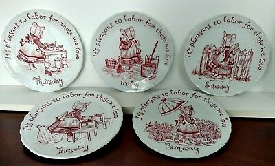 Crownford China Staffordshire England Plates days-of-the-week 5 Crownford Plates