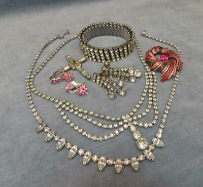 Vintage Art Deco Estate Rhinestone Jewelry Lot Bracelet Festoon Necklace Earring