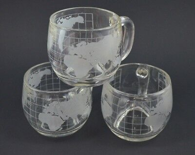 Nestle Nescafe Globe Set of 3 Mug Cup World Map Frosted Coffee Glass Clear Vtg