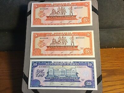Lot of 3 Haiti Notes 2 1989 5 Gourdes and 1 1988 25 Gourdes