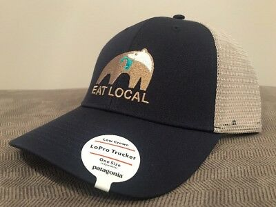 c0e764e90 Patagonia Eat Local Trucker Hat Bear With Fish Cap SHIPS IN BOX! Navy Blue  BNWT