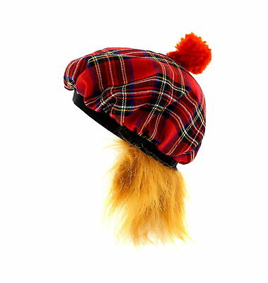 Zac's Alter Ego® Scottish Tartan Bobble Hat with Ginger Hair