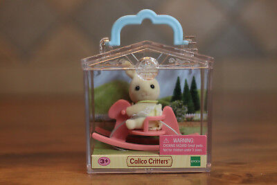 Calico Critters Baby Carry Case w// Bunny on Rocking Horse