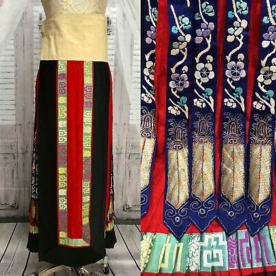 Antique Red Chinese Qing Dynasty Silk Skirt Embroidered Panels