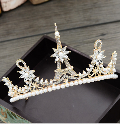 9cm High Large Adult Crystal Pearl Wedding Bridal Party Pageant Prom Tiara Crown