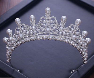 6cm High Large Adult Crystal Pearl Wedding Bridal Party Pageant Prom Tiara Crown
