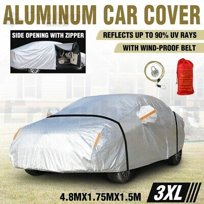 3XL Aluminum Waterproof Double Thicker Car Cover 3 Layers Rain Resistant UV Dust