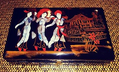 Black Lacquer Mother Of Pearl Asian Jewelry Box With Dancers Pagoda Pond Ladies